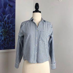 Bershka Striped Crop Button Bown Shirt
